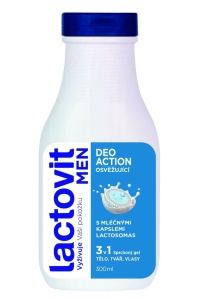 Lactovit Men - sprchový gél DeoAction 3v1, 300 ml